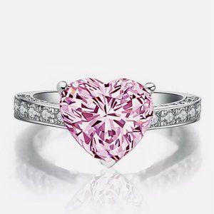 New Heat Cut Pink Sapphire Elegant 925 Silver Ring